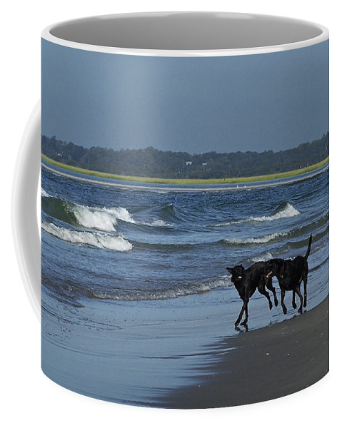 Dog Coffee Mug featuring the photograph Dogs On The Beach by Teresa Mucha