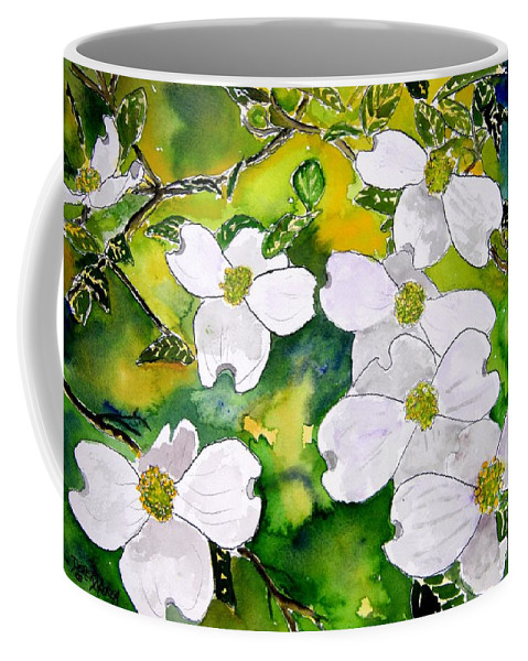 Dogwood Coffee Mug featuring the painting Dogwood tree flowers by Derek Mccrea