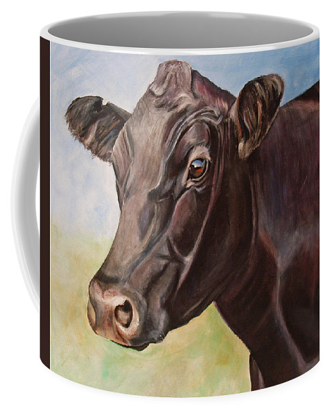 Cow Coffee Mug featuring the painting Dolly The Angus Cow by Toni Grote