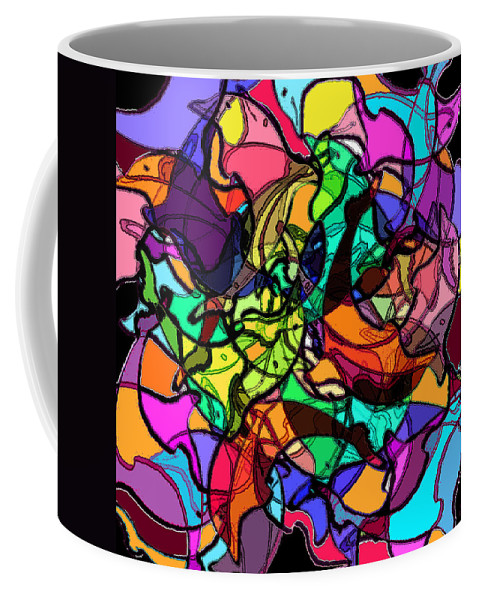 Abstract Coffee Mug featuring the digital art Dolphin Kaleidoscope by Rachel Christine Nowicki