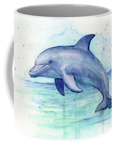 Dolphin Coffee Mug featuring the painting Dolphin Watercolor by Olga Shvartsur