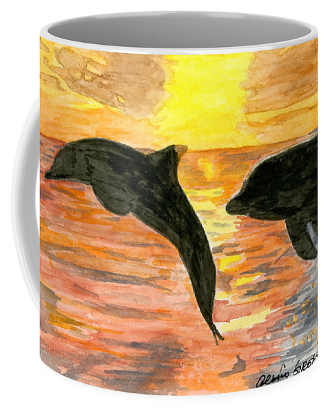 Dolphins Coffee Mug featuring the painting Dolphins by Alexis Grone