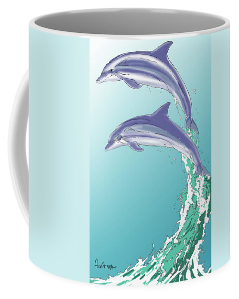Dolphins Coffee Mug featuring the digital art Dolphins Jumping Out Of The Water by Juan Alcantara