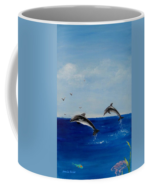 Dolphin Coffee Mug featuring the painting Dolphins Playing by Jamie Frier