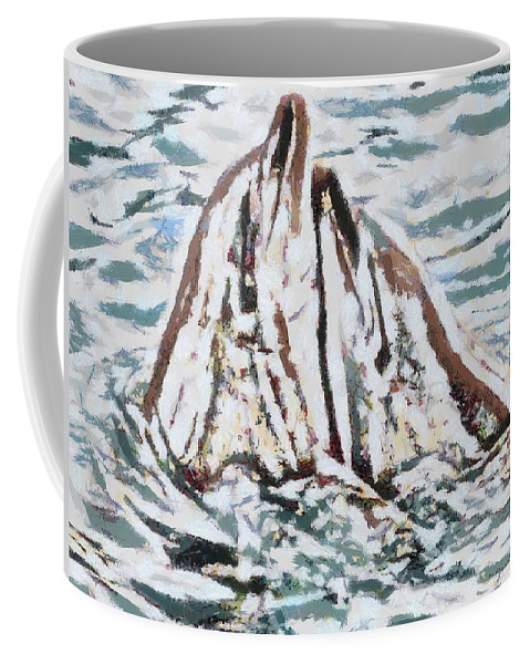 Dolphins Twitterpated Coffee Mug featuring the digital art Dolphins Twitterpated by Catherine Lott