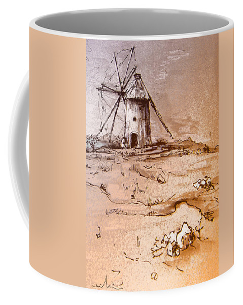 Don Quijote Coffee Mug featuring the painting Don Quijote Windmills 06 by Miki De Goodaboom