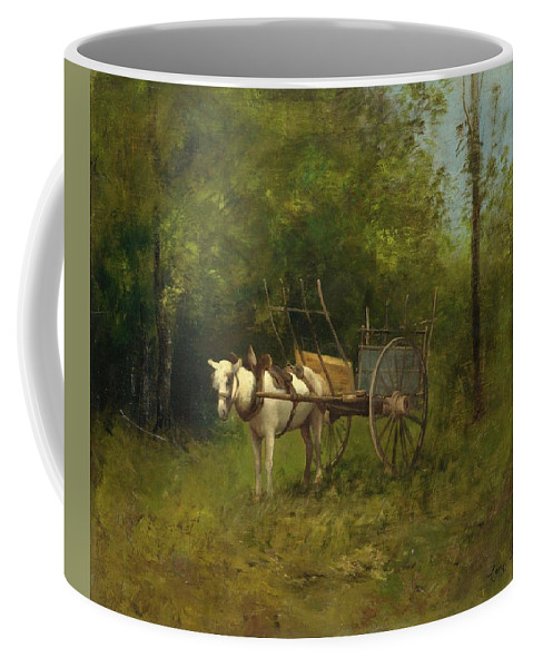 Richet Coffee Mug featuring the painting Donkey With Cart by Leon