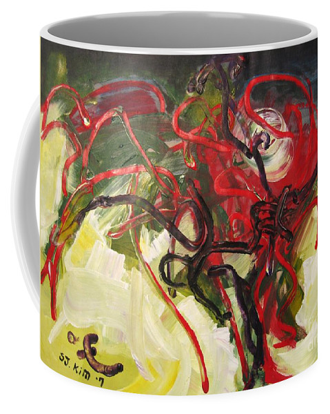 Abstract Paintings Paintings Abstract Art Paintings Coffee Mug featuring the painting Don't Bother Me by Seon-Jeong Kim