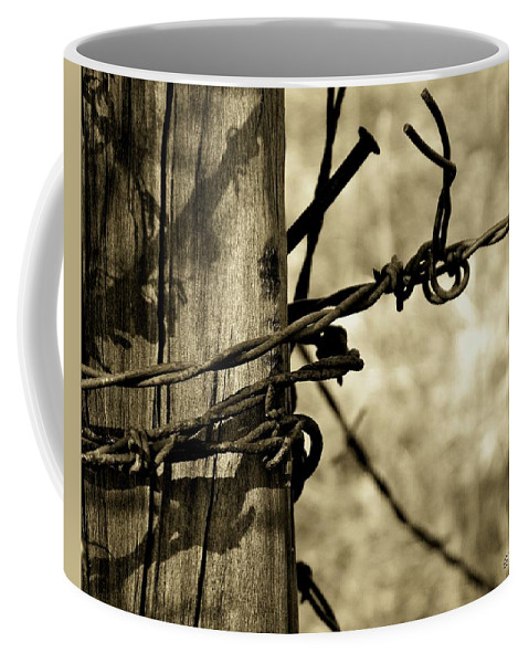 Barbed Coffee Mug featuring the photograph Don't Fence Me In 2 by Betty Northcutt