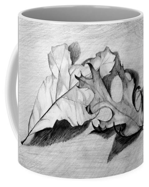 Fall Coffee Mug featuring the drawing Don't Leaf Me by Jean Haynes