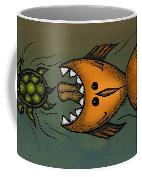 Fish Coffee Mug featuring the digital art Don't Look Back by Kelly Jade King