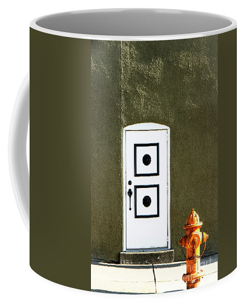 Fire Hydrant Coffee Mug featuring the photograph Door And Orange Hydrant by Amy Sorvillo