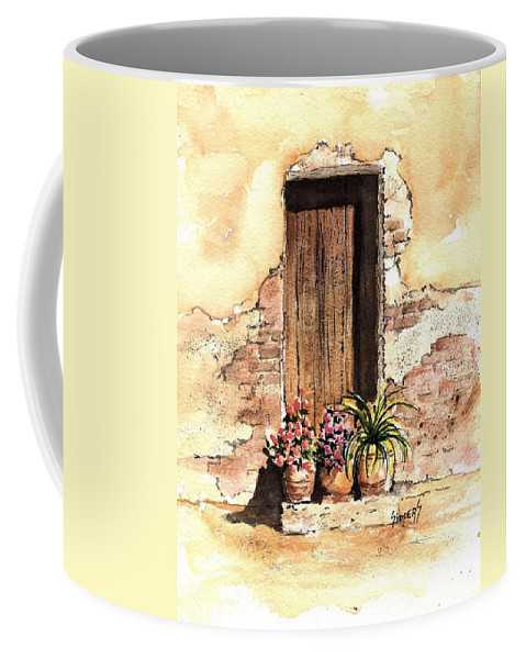 Door Coffee Mug featuring the painting Door With Flowers by Sam Sidders