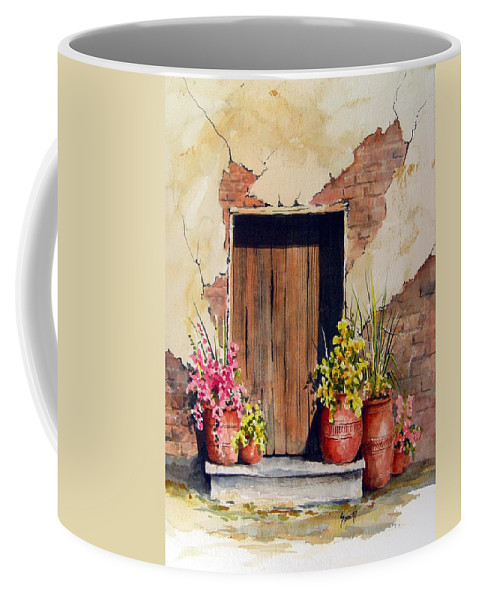 Flowers Coffee Mug featuring the painting Door With Pots by Sam Sidders