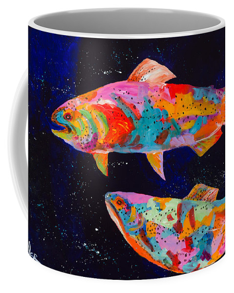 Tracy Miller Coffee Mug featuring the painting Dos Brown Trout by Tracy Miller