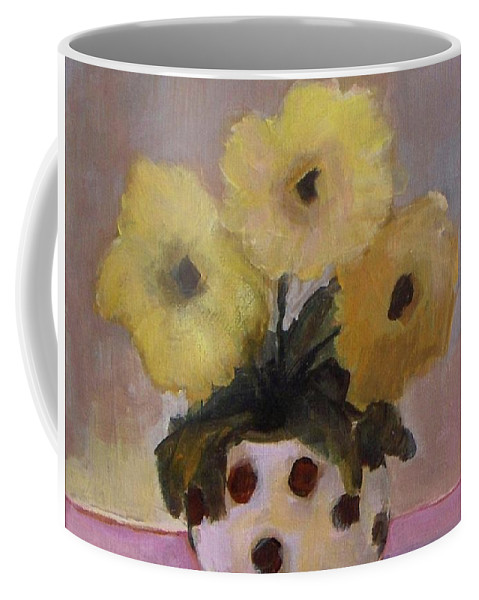 Dotted Coffee Mug featuring the painting Dotted Vase With Yellow Flowers by Vesna Antic