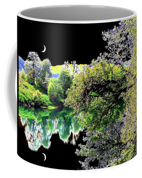 Umpqua River Coffee Mug featuring the digital art Double Moon by Will Borden