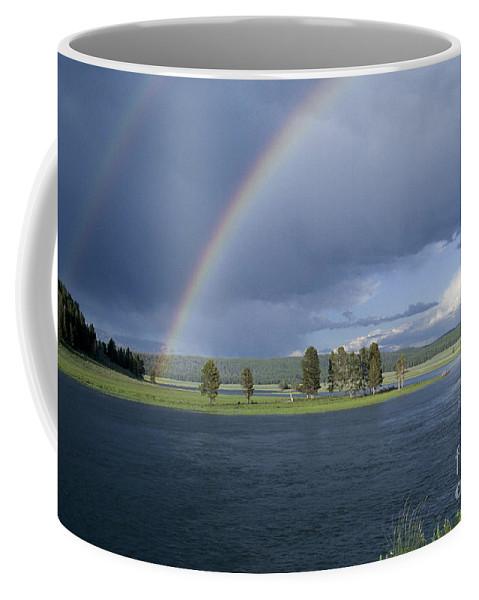 Yellowstone Coffee Mug featuring the photograph Double Rainbow At Alum Creek by Sandra Bronstein