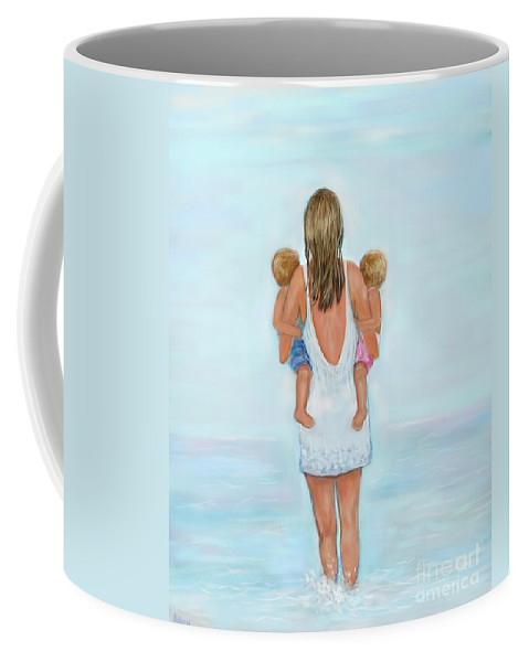 Mother Art Coffee Mug featuring the painting Double The Fun by Leslie Allen