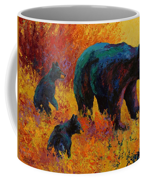 Bear Coffee Mug featuring the painting Double Trouble - Black Bear Family by Marion Rose