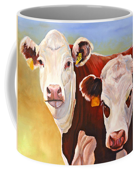 Hereford Coffee Mug featuring the painting Double Trouble Hereford Cows by Toni Grote
