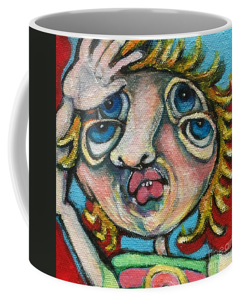 Circle Head Art Coffee Mug featuring the painting Double Vision by Michelle Spiziri