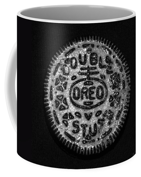 Oreo Coffee Mug featuring the photograph Doulble Stuff Oreo In Black And White by Rob Hans