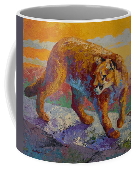Mountain Lion Coffee Mug featuring the painting Down Off The Ridge - Cougar by Marion Rose