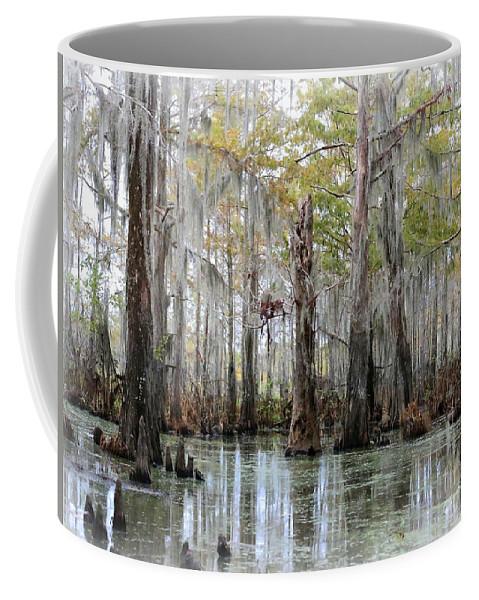 Louisiana Bayou Coffee Mug featuring the photograph Down On The Bayou - Digital Painting by Carol Groenen