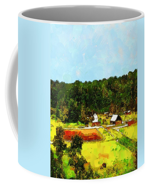 Barns Coffee Mug featuring the painting Down On The Farm by RC DeWinter