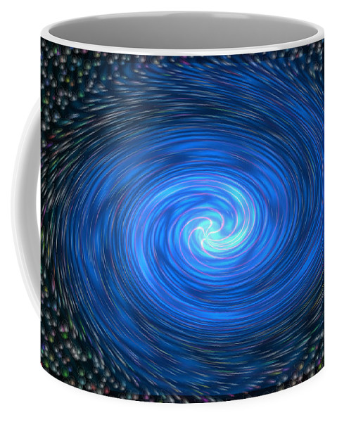 Bubbles Colorful Colourful Abstract Spinning Blue Black Yellow Purple Pink Green Coffee Mug featuring the digital art Down The Drain by Andrea Lawrence
