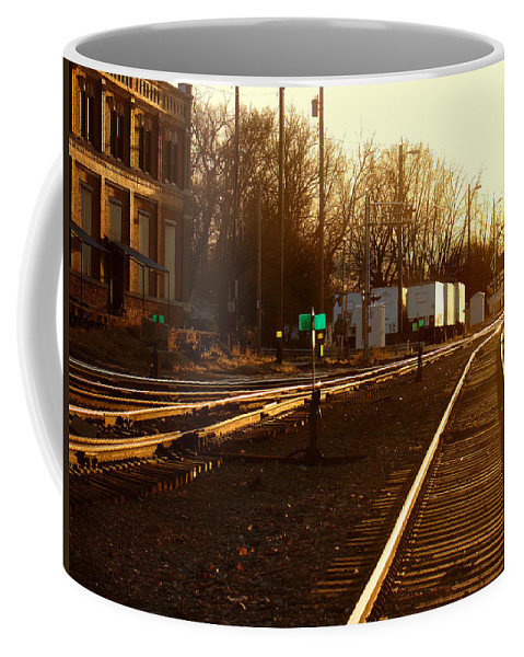 Landscape Coffee Mug featuring the photograph Down the Right Track by Steve Karol
