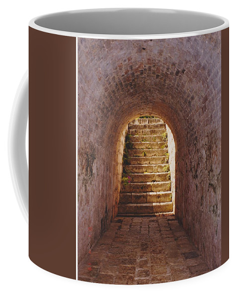 Brick Coffee Mug featuring the photograph Down To The Cellar by Michelle Powell