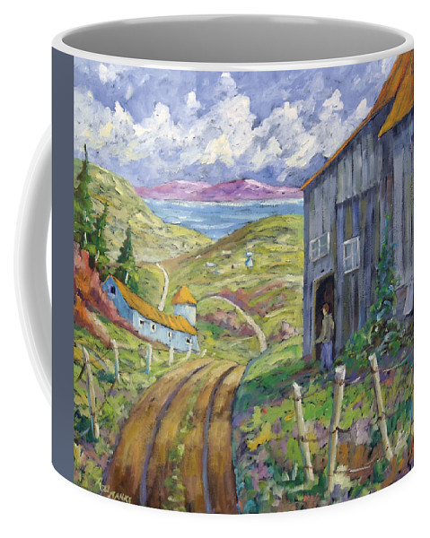 Art Coffee Mug featuring the painting Down To The Fjord by Richard T Pranke