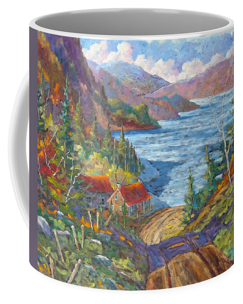 Landscape Coffee Mug featuring the painting Down To The Lake by Richard T Pranke