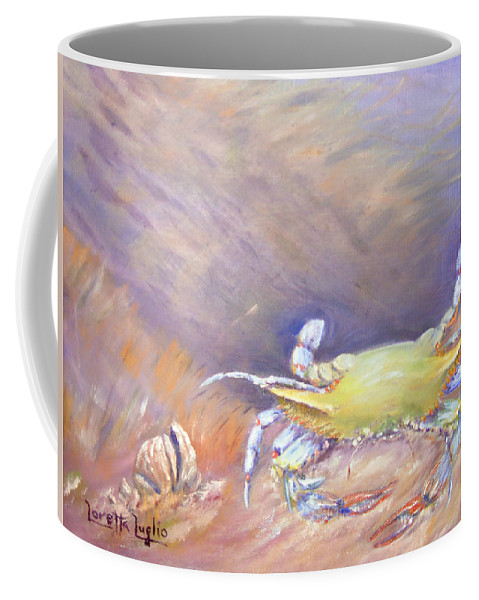 Blue Crab Coffee Mug featuring the painting Down Under by Loretta Luglio