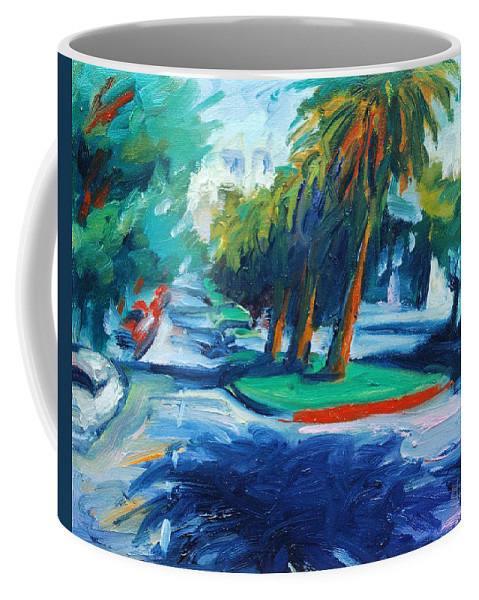 San Francisco Coffee Mug featuring the painting Downhill by Rick Nederlof
