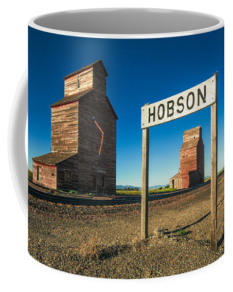 Grain Elevator Coffee Mug featuring the photograph Downtown Hobson, Montana by Todd Klassy