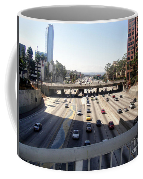 Wilshire Coffee Mug featuring the photograph Downtown Los Angeles. 110 Freeway And Wilshire Bl by Sofia Metal Queen