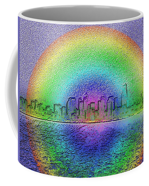 Seattle Coffee Mug featuring the photograph Downtown Rainbow In The Wake by Tim Allen