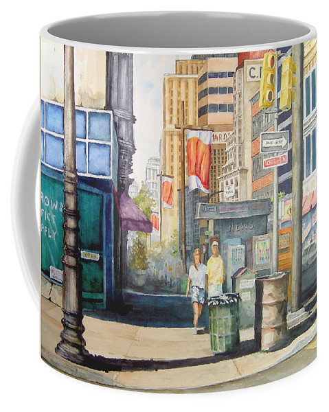 City Coffee Mug featuring the painting Downtown by Sam Sidders