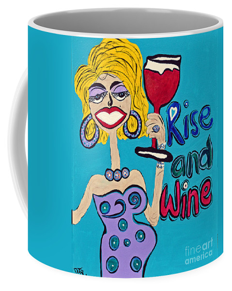 Rise & Wine Coffee Mug featuring the painting Drag Queen's Coffee by Davids Digits