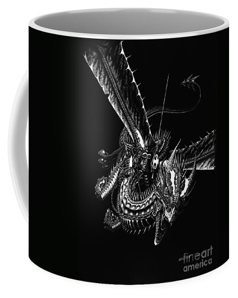 Fantasy Coffee Mug featuring the drawing Dragon Knight by Stanley Morrison