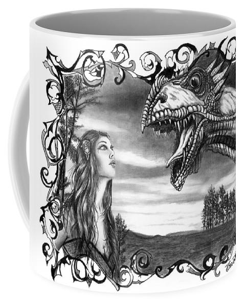 Dragon Whisperer Coffee Mug featuring the drawing Dragon Whisperer by Peter Piatt