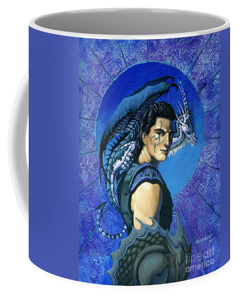 Dragon Coffee Mug featuring the painting Dragoneer by Stanley Morrison