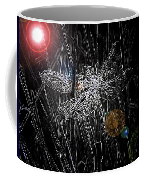 Dragonfly Art Coffee Mug featuring the digital art Dragonfly by Bob Kemp