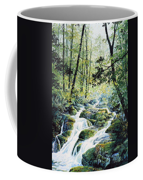 Forest Landscape Painting Coffee Mug featuring the painting Dragonfly Creek by Hanne Lore Koehler