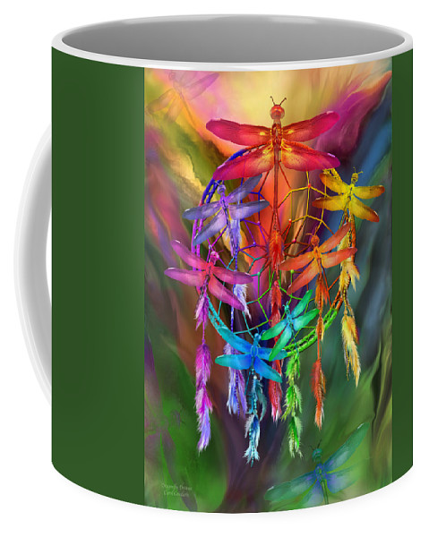 Carol Cavalaris Coffee Mug featuring the mixed media Dragonfly Dreams by Carol Cavalaris