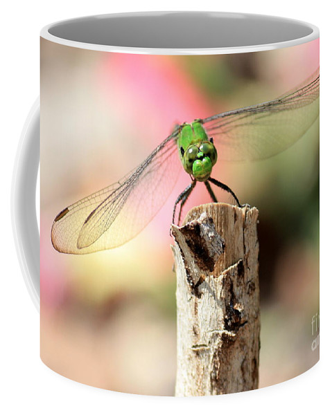 Dragonfly Coffee Mug featuring the photograph Dragonfly In The Petunias by Carol Groenen