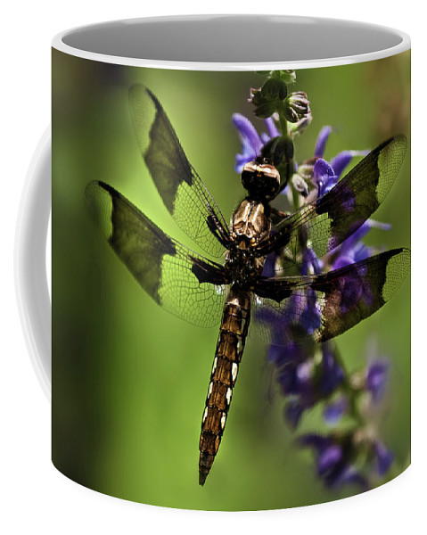 Dragon Fly Coffee Mug featuring the photograph Dragonfly On Salvia by Onyonet Photo Studios